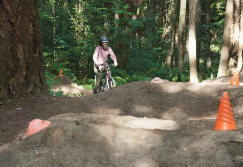 An unauthorized bike trail is damaging SCC's restoration area.