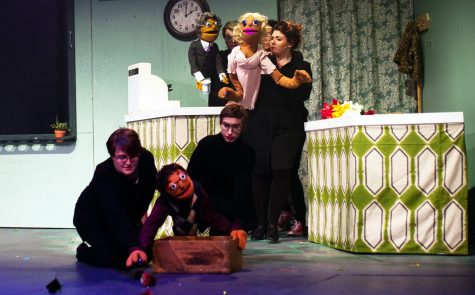Bryce West, Matt Correa, Alyssa Hope Mass, Erin Smith and Hannah Lund do their best with the puppets they're provided. PHOTO CREDIT: Ming Tian