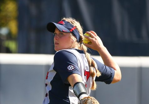 Kacey Hvitved, eyes forward, prepares to throw heat in the SEC. PHOTO CREDITS: University of Mississippi