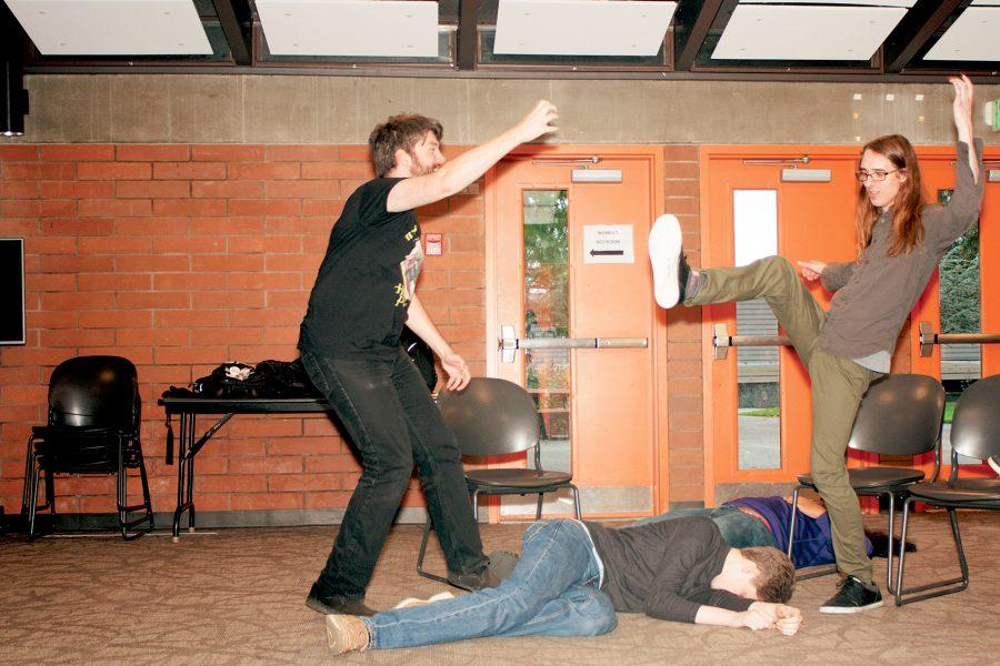 Austin Olson (right) kicks away the grenade represented by Noah Bruckshen (left). PHOTO BY: Nick Molsee