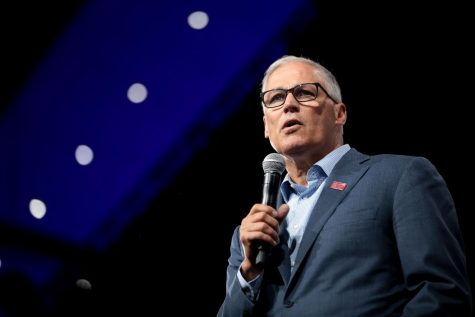 Governor Jay Inslee speaking with attendees at the 2019 Presidential Gun Sense Forum hosted by Everytown for Gun Safety and Moms Demand Action at the Iowa Events Center in Des Moines, Iowa.