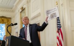 Former U.S. President Donald Trump delivers remarks following his first impeachment trial.