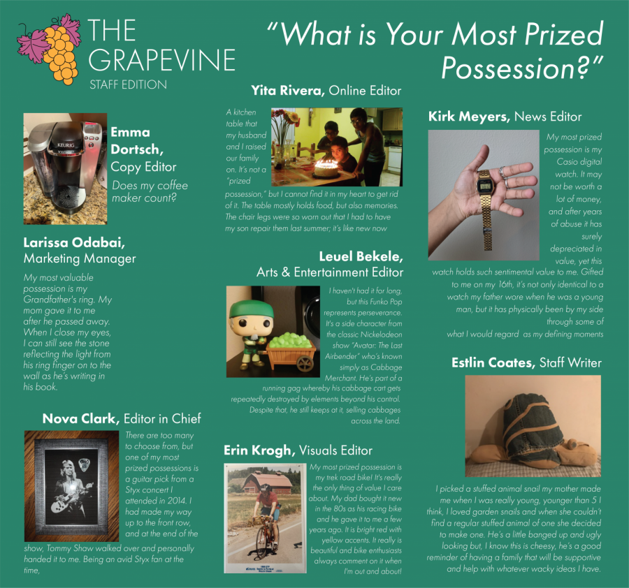 Grapevine: (Staff Edition) What's Your Most Prized Possession?